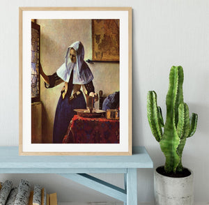 Young woman with a water jug at the window by Vermeer Framed Print - Canvas Art Rocks - 3