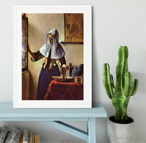 Young woman with a water jug at the window by Vermeer Framed Print - Canvas Art Rocks - 5