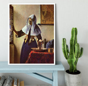 Young woman with a water jug at the window by Vermeer Framed Print - Canvas Art Rocks -6