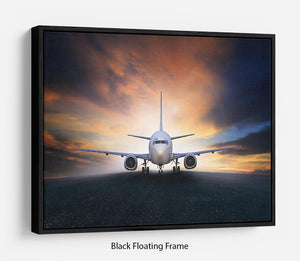 air plane preparing to take off Floating Frame Canvas
