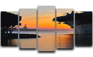 aircraft carrier in harbour in sunset 5 Split Panel Canvas  - Canvas Art Rocks - 1