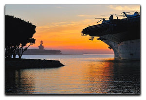 aircraft carrier in harbour in sunset Canvas Print or Poster  - Canvas Art Rocks - 1