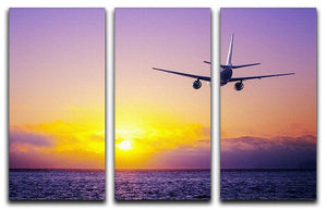 airplane in the sky over ocean 3 Split Panel Canvas Print - Canvas Art Rocks - 1