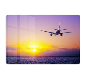airplane in the sky over ocean HD Metal Print