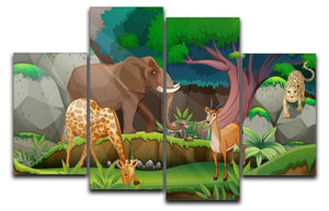 animals in the jungle 4 Split Panel Canvas  - Canvas Art Rocks - 1