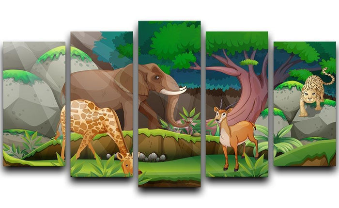 animals in the jungle 5 Split Panel Canvas