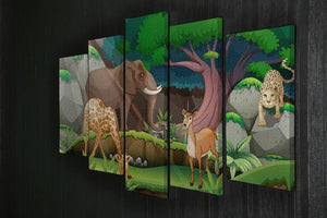 animals in the jungle 5 Split Panel Canvas - Canvas Art Rocks - 2