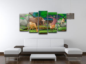animals in the jungle 5 Split Panel Canvas - Canvas Art Rocks - 3