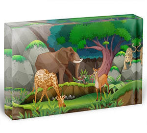animals in the jungle Acrylic Block - Canvas Art Rocks - 1