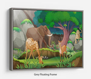 animals in the jungle Floating Frame Canvas