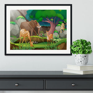 animals in the jungle Framed Print - Canvas Art Rocks - 1