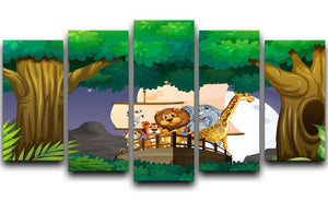 animals on boat in the jungle 5 Split Panel Canvas  - Canvas Art Rocks - 1