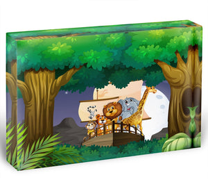 animals on boat in the jungle Acrylic Block - Canvas Art Rocks - 1