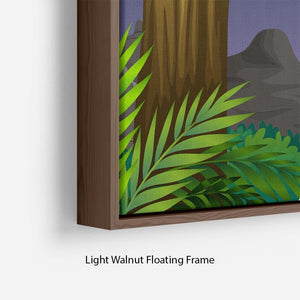animals on boat in the jungle Floating Frame Canvas