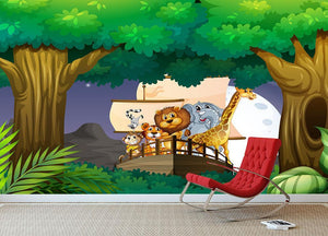 animals on boat in the jungle Wall Mural Wallpaper - Canvas Art Rocks - 3
