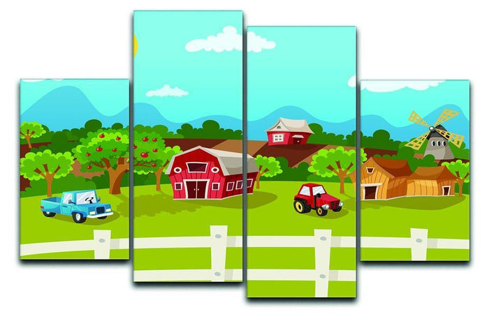 apple garden in rural landscape 4 Split Panel Canvas