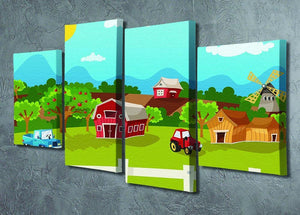 apple garden in rural landscape 4 Split Panel Canvas - Canvas Art Rocks - 2