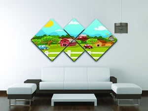 apple garden in rural landscape 4 Square Multi Panel Canvas - Canvas Art Rocks - 3