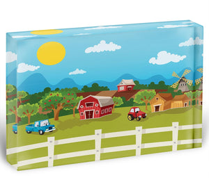 apple garden in rural landscape Acrylic Block - Canvas Art Rocks - 1
