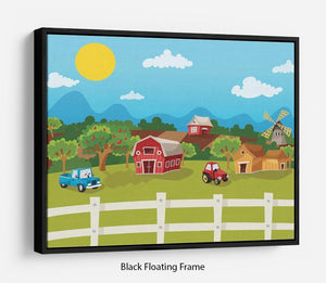 apple garden in rural landscape Floating Frame Canvas