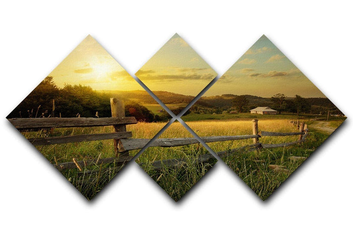 art rural landscape 4 Square Multi Panel Canvas
