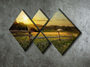 art rural landscape 4 Square Multi Panel Canvas  - Canvas Art Rocks - 2