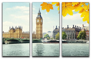 autumn leaves and Big Ben London 3 Split Panel Canvas Print - Canvas Art Rocks - 1