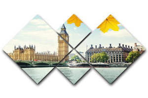 autumn leaves and Big Ben London 4 Square Multi Panel Canvas  - Canvas Art Rocks - 1