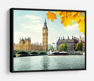autumn leaves and Big Ben London HD Metal Print