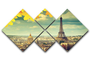 autumn leaves in Paris and Eiffel tower 4 Square Multi Panel Canvas  - Canvas Art Rocks - 1
