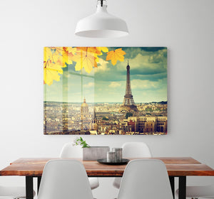 autumn leaves in Paris and Eiffel tower HD Metal Print