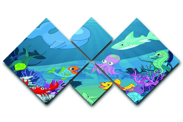 background of an underwater life 4 Square Multi Panel Canvas