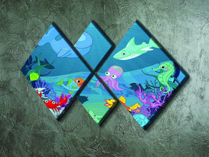 background of an underwater life 4 Square Multi Panel Canvas - Canvas Art Rocks - 2