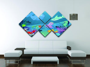 background of an underwater life 4 Square Multi Panel Canvas - Canvas Art Rocks - 3