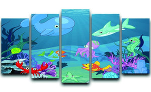background of an underwater life 5 Split Panel Canvas  - Canvas Art Rocks - 1