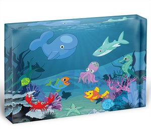 background of an underwater life Acrylic Block - Canvas Art Rocks - 1