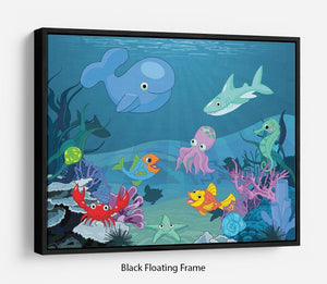 background of an underwater life Floating Frame Canvas