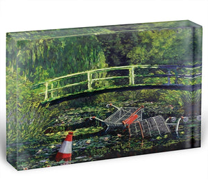banksy Water Lilies Trash Acrylic Block - Canvas Art Rocks - 1
