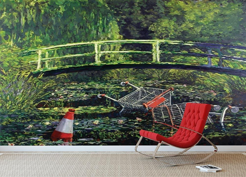 banksy Water Lilies Trash Wall Mural Wallpaper - Canvas Art Rocks - 1