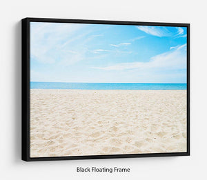 beach background with copy space Floating Frame Canvas - Canvas Art Rocks - 1