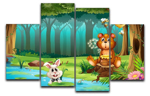 bear in a jungle 4 Split Panel Canvas  - Canvas Art Rocks - 1