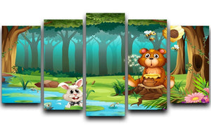 bear in a jungle 5 Split Panel Canvas  - Canvas Art Rocks - 1