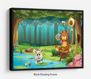 bear in a jungle Floating Frame Canvas