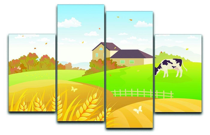 beautiful fall countryside scene with a grazing cow 4 Split Panel Canvas