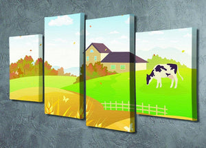 beautiful fall countryside scene with a grazing cow 4 Split Panel Canvas - Canvas Art Rocks - 2