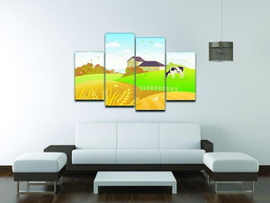 beautiful fall countryside scene with a grazing cow 4 Split Panel Canvas - Canvas Art Rocks - 3