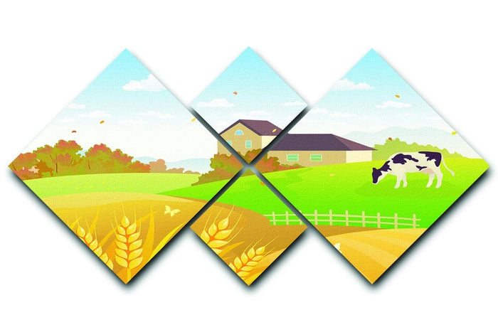 beautiful fall countryside scene with a grazing cow 4 Square Multi Panel Canvas