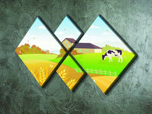 beautiful fall countryside scene with a grazing cow 4 Square Multi Panel Canvas - Canvas Art Rocks - 2