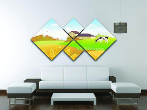 beautiful fall countryside scene with a grazing cow 4 Square Multi Panel Canvas - Canvas Art Rocks - 3