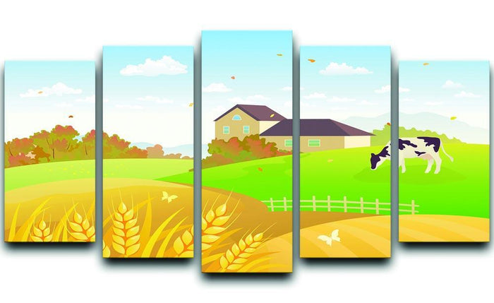 beautiful fall countryside scene with a grazing cow 5 Split Panel Canvas